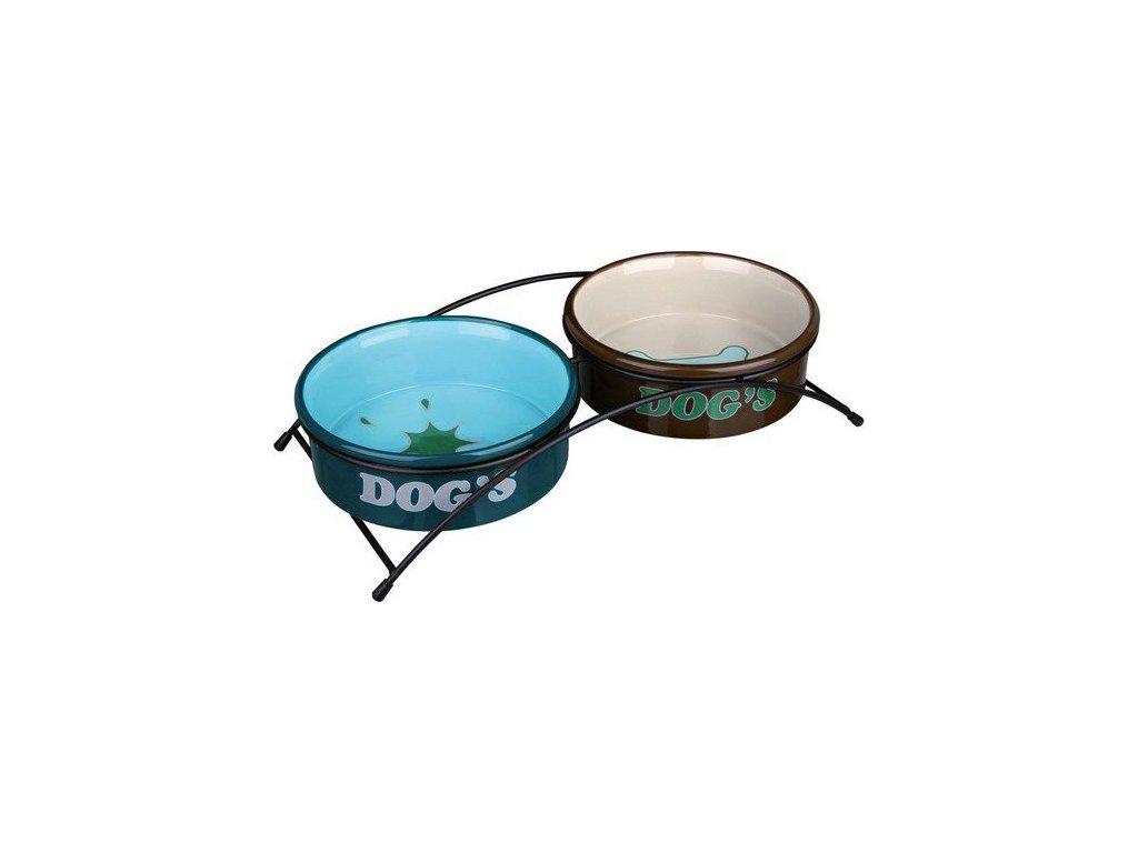 Stojánek s barevnými keramickými miskami 2x0,5 l/15 cm