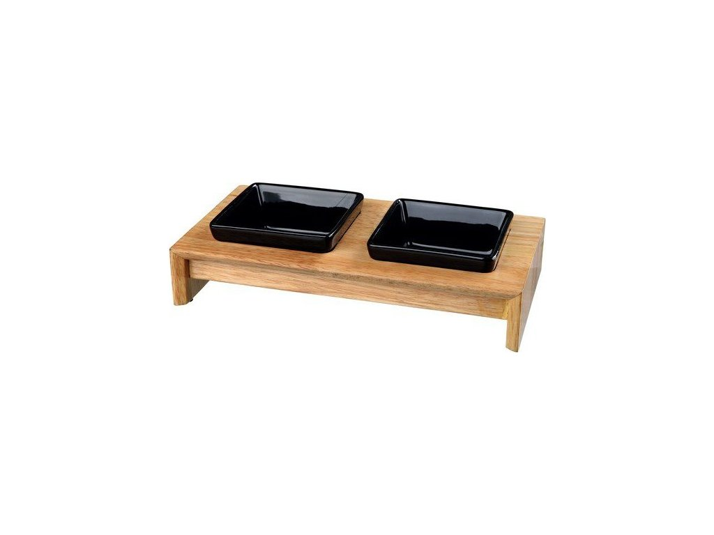 Keramické misky čtveraté v dřevěném stojánku 2x0,4l/13cm