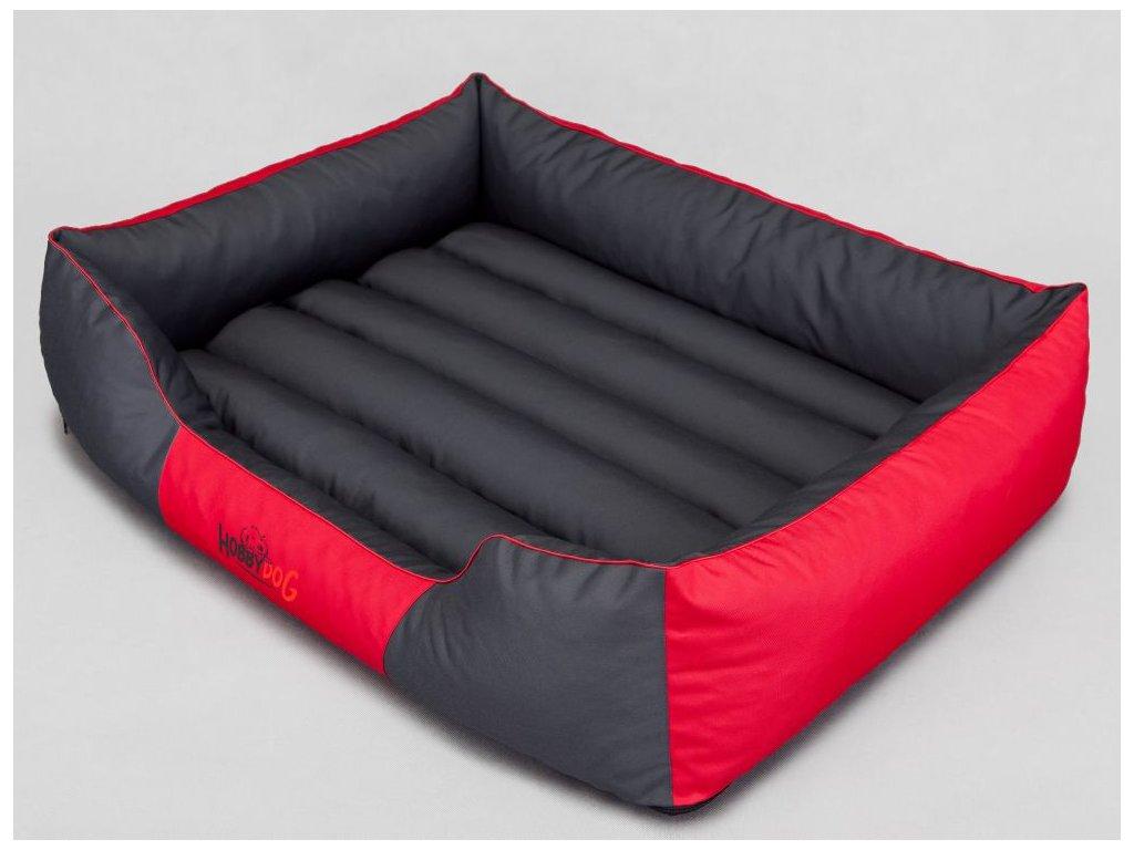 Pelíšek pro psa Comfort - červený s šedou XXL 110 x 90 cm