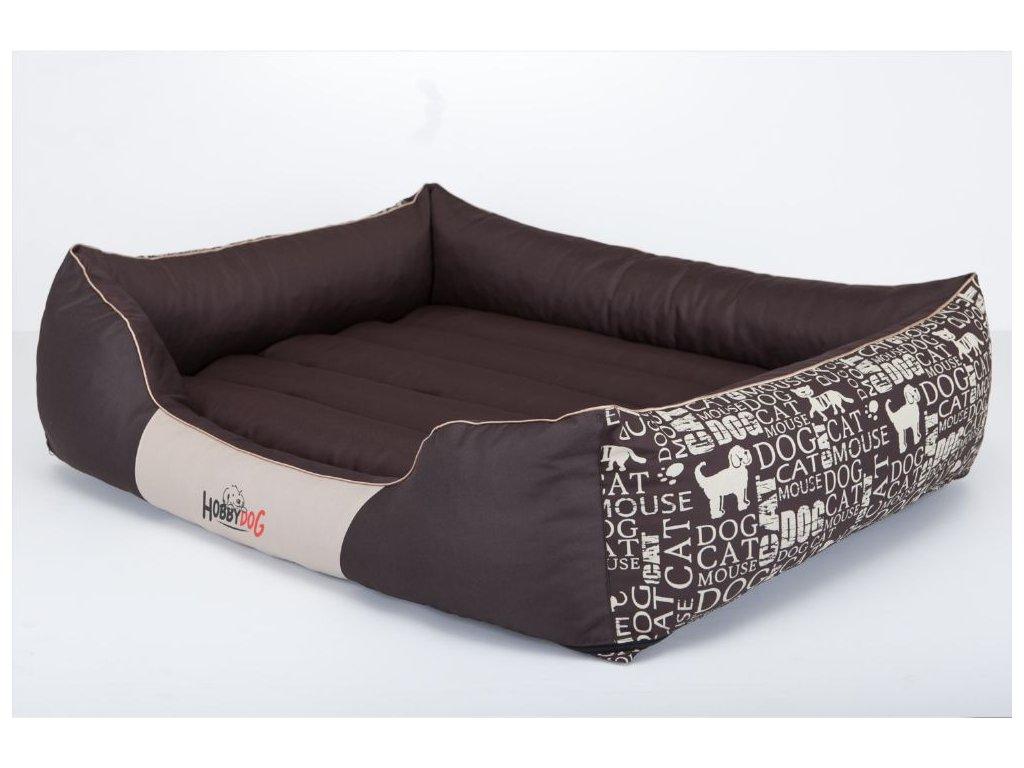 Pelíšek pro psa Prestige - hnědý, s nápisy XL 85 x 65 cm