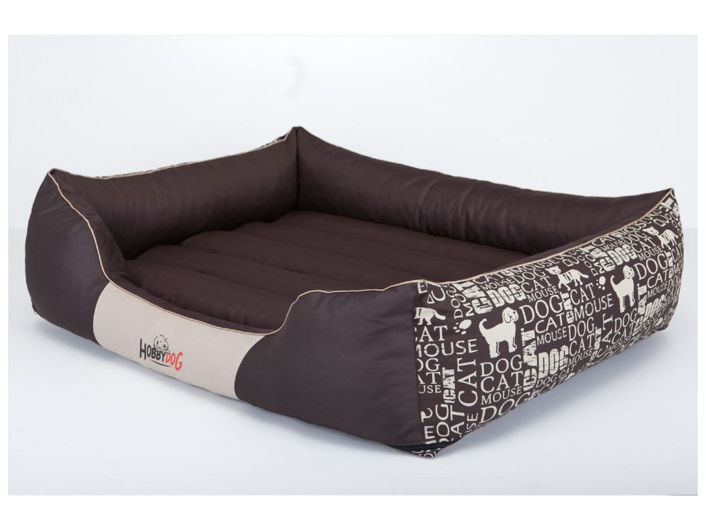 Pelíšek pro psa Prestige - hnědý, s nápisy XXL 110 x 90 cm