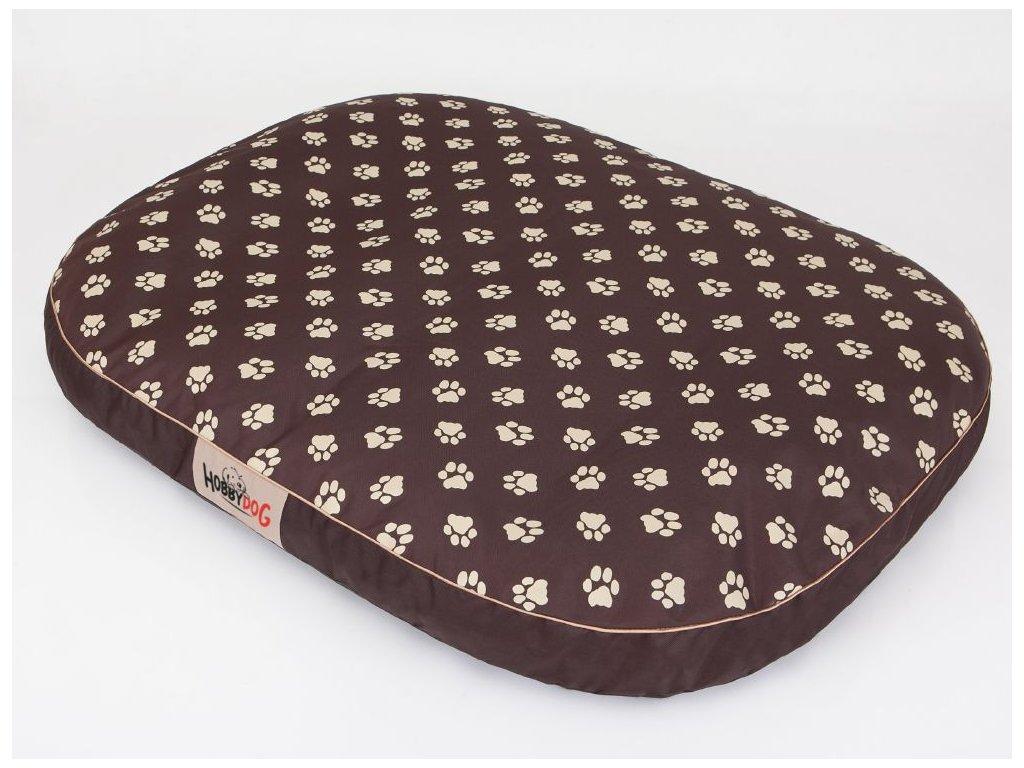Matrace pro psa Ovál - hnědá packy XXL 130 x 100 x 15 cm