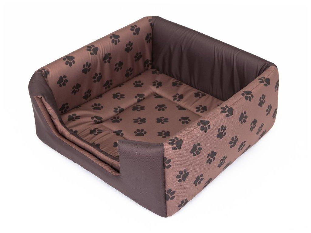 Pelíšek pro psa Butterfly - hnědý, packy M 43 x 43 x 17/35 cm
