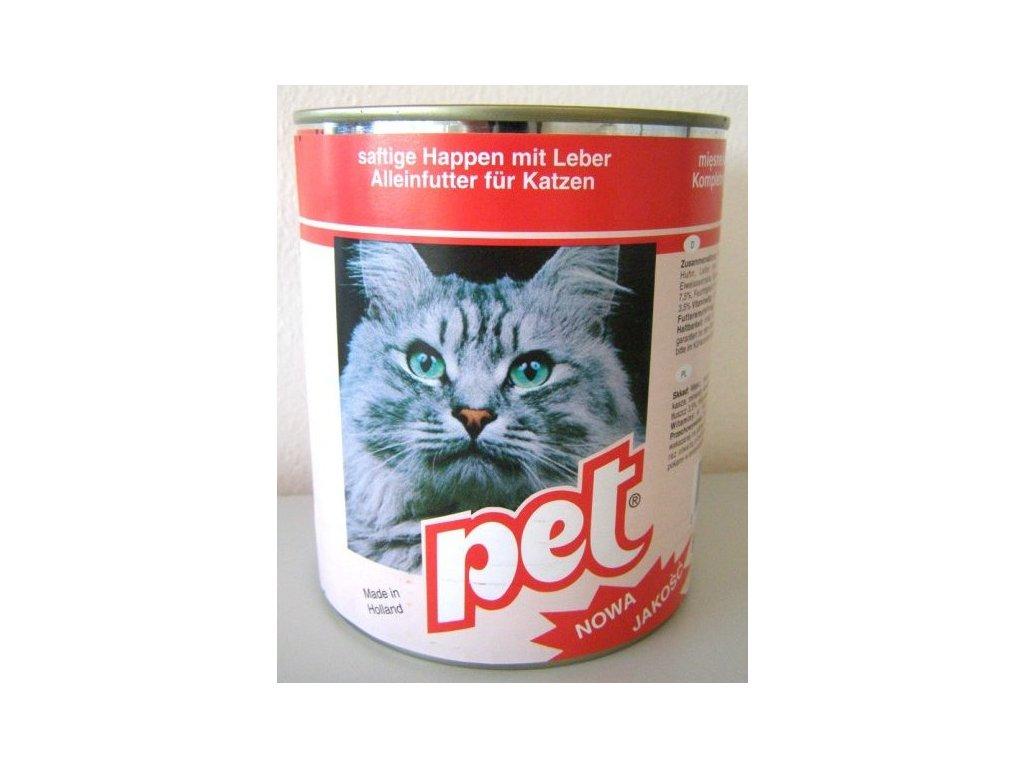 PET KATZE masové kostky s játry pro kočky 855 g