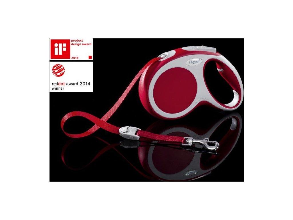 Vodítko FLEXI VARIO Pásek M 5m/25kg Červená 1ks