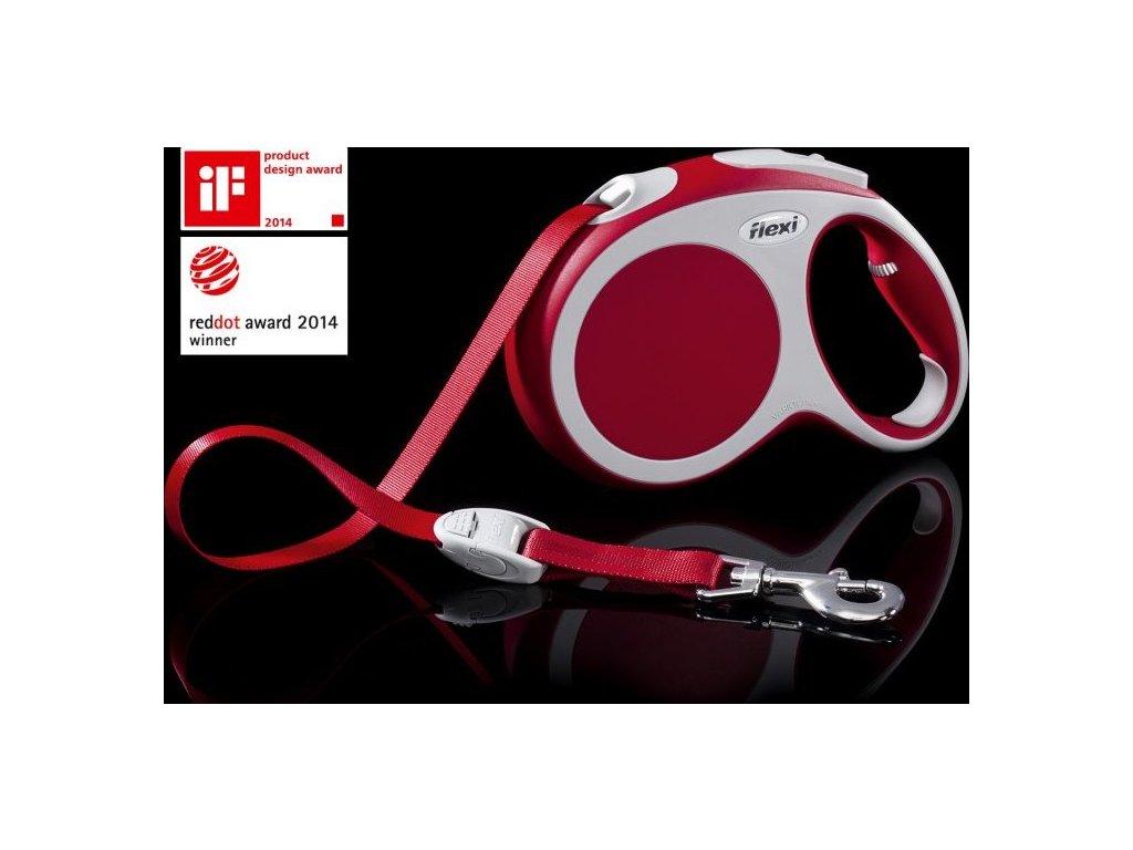 Vodítko FLEXI VARIO Pásek L 5m/60kg Červená 1ks