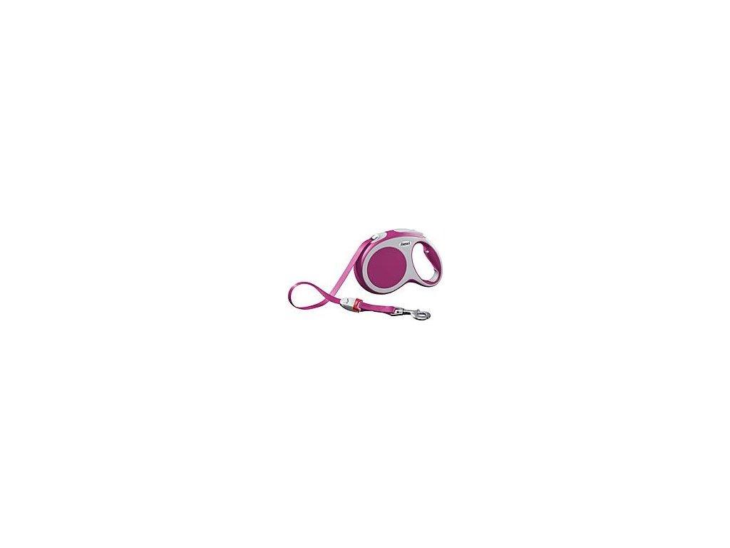 Vodítko FLEXI VARIO Pásek L 5m/60kg Růžová 1ks