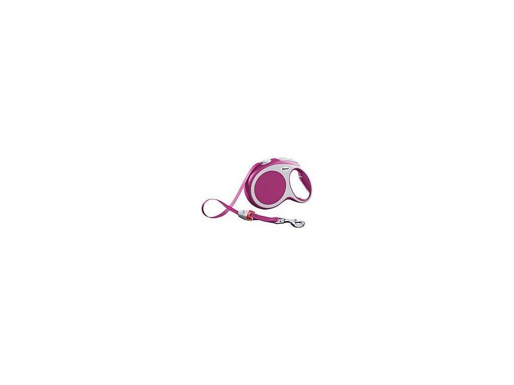 Vodítko FLEXI VARIO Pásek L 8m/50kg Růžová 1ks
