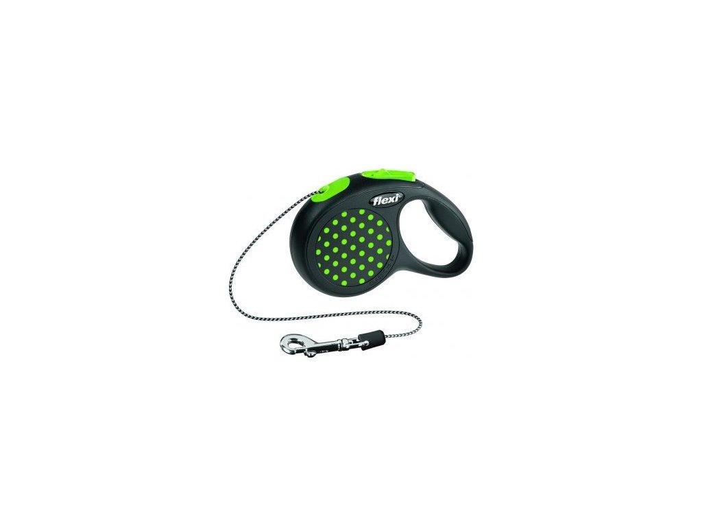Flexi DESIGN XS 3 m šňůra, max.8kg - zelená