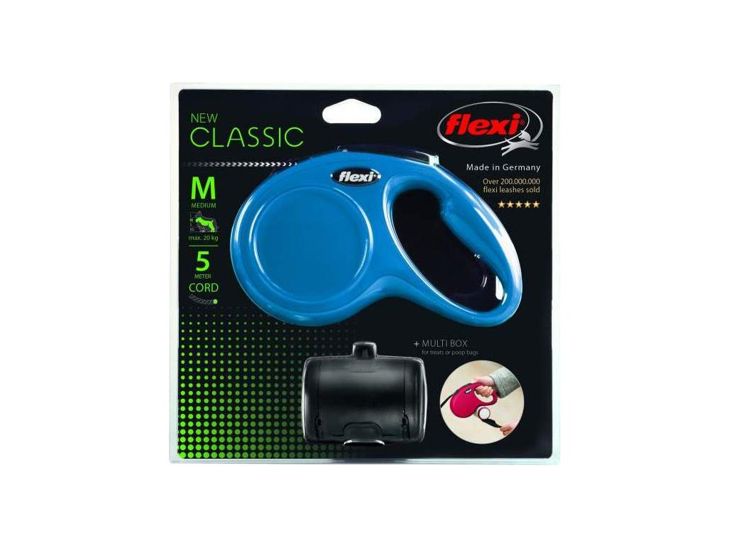 Flexi New Classic SET M šňůra 5 m, max. 20kg+zásobník - modrá