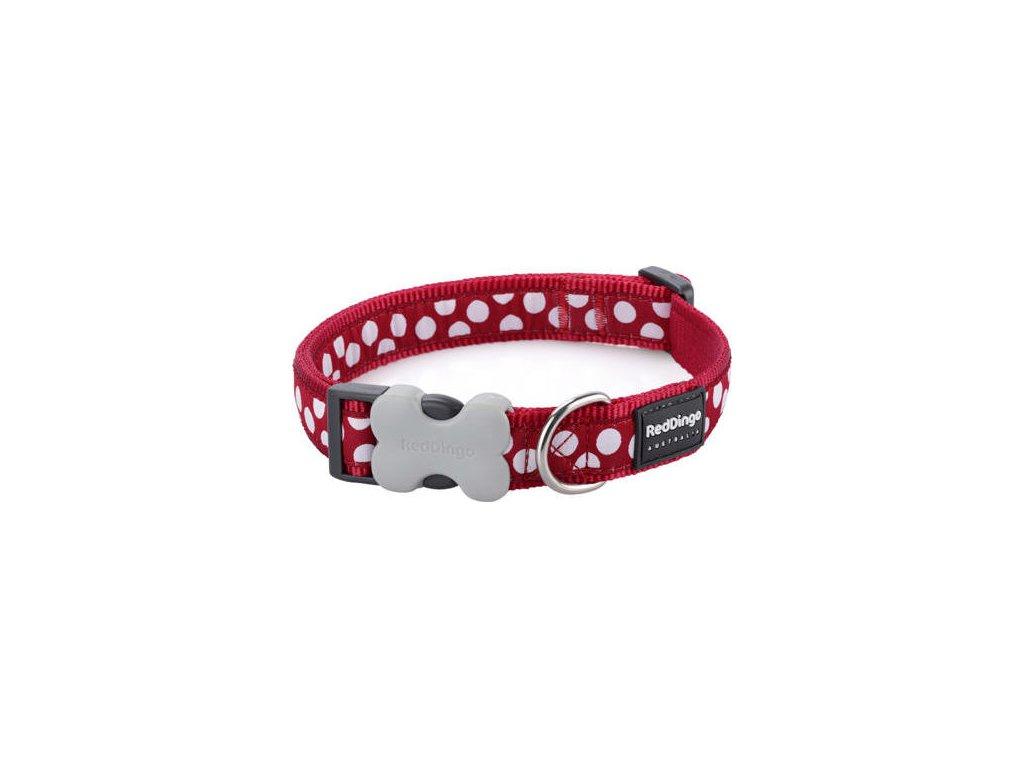 RedDingo Obojek 20 mm x 30-47 cm - White Spots on Red - červená, bílý putník