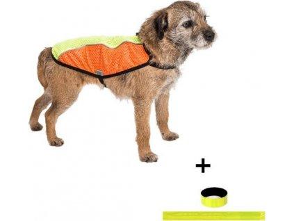 """Obleček - Vesta """"Blesk"""" oranžovo-zelená reflexní 55 cm"""
