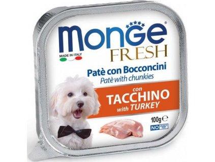 MONGE FRESH - paštika a kousky s krůtou 100 g pro psy