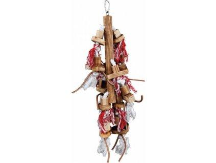 !Závěsná dřevěná hračka,kož.pásky+hvězdy,srdce 45cm DOPRODEJ
