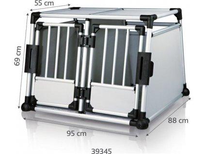 Transportní klec dvojitá, hliníkový rám, pevné panely 95x69x88 cm