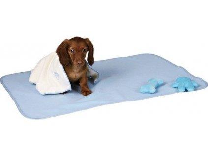 Sada pro štěňata - deka se dvěma hračkami 76x50 cm - světle mod