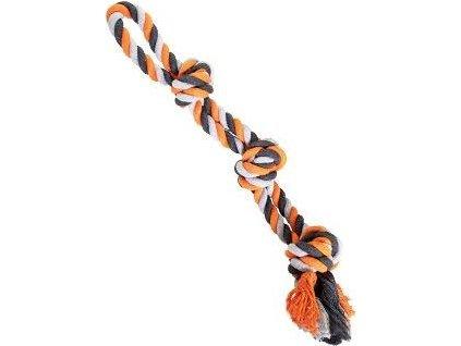 Dvojité lano bavlněné HH 3 knoty 60 cm / 450 g šedo,oranžová