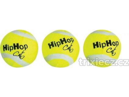 Balení-tenisový míček s rolničkou 4 cm CAT (3 ks v bal.)