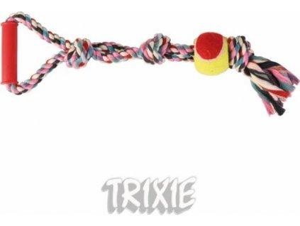 Bavlněné přetahovadlo trojuzel s tenisovým míčem 50cm/6cm