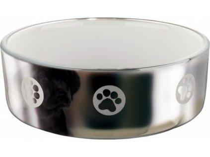 Keramická miska pro psy s packami 1,5 l/19 cm stříbrno/bílá