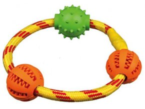 TRIXIE DENTAfun kroužek z lana se 3 míčky tvr.guma 20 cm