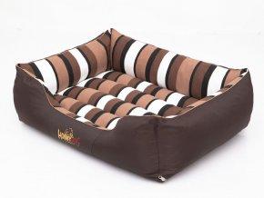 Pelíšek pro psa Comfort - hnědý a pruhy XL 85 x 65 cm