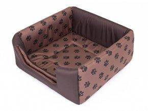 Pelíšek pro psa Butterfly - hnědý, packy L 48 x 48 x 20/40 cm
