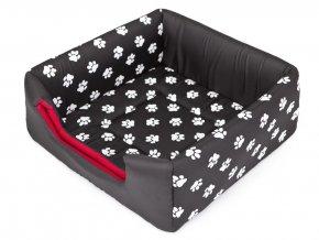 Pelíšek pro psa Butterfly - černý, packy L 48 x 48 x 20/40 cm