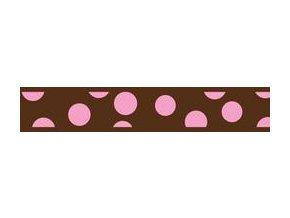 RedDingo Vodítko přepínací Pink Spots on Brown 25 mm x 2m - hnědá, růžový puntík