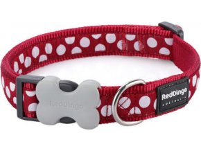 RedDingo Obojek 20 mm x 30-47 cm - White Spots on Red - červená, bílý putník