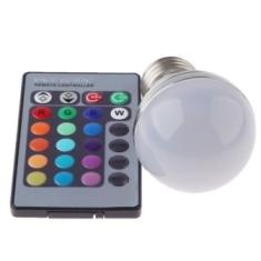 Barevná kulatá LED RGB žárovka E27 s dálkovým ovladačem
