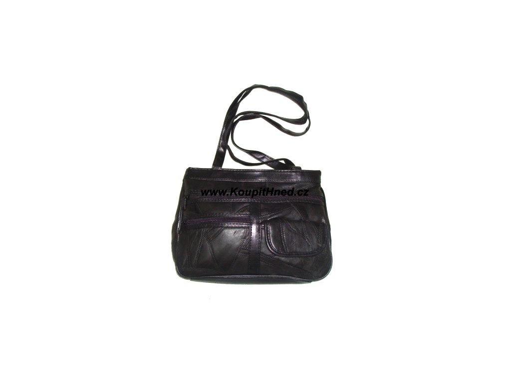 Kožená kabelka tříčtvrťák černá