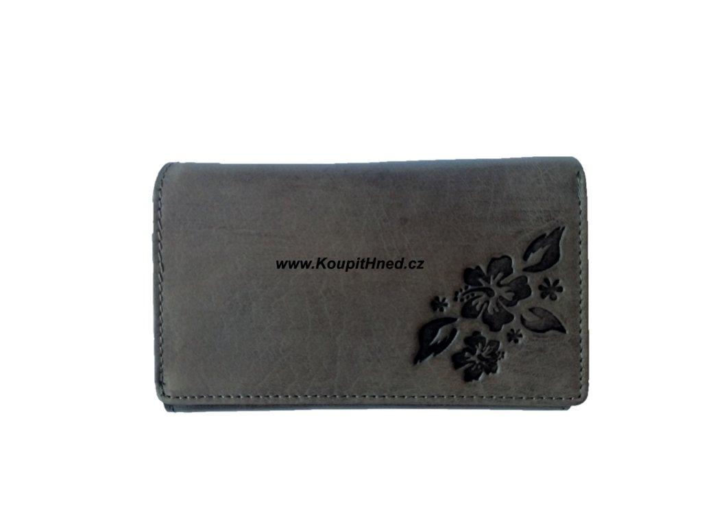 Dámská kožená peněženka kytka