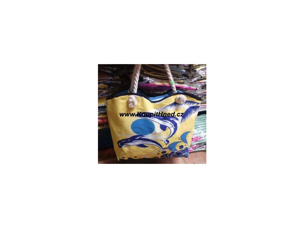 Plážová taška žlutá s motivem