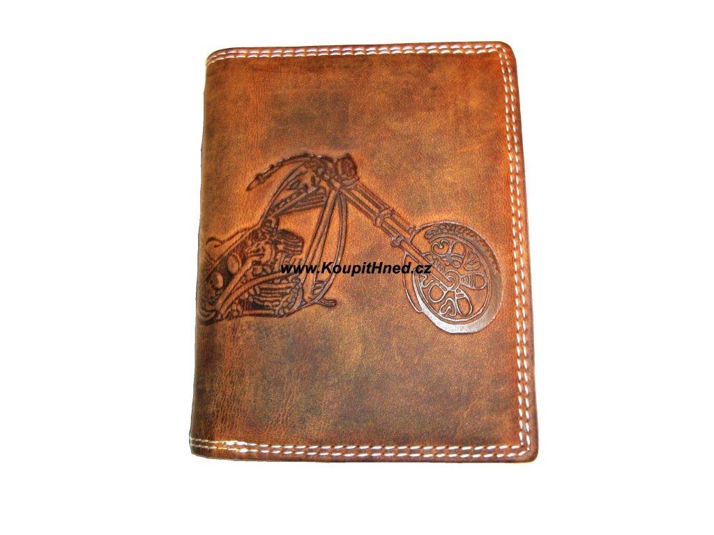 Kožená peněženka na výšku motorka