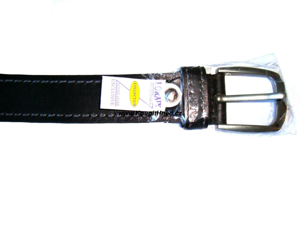 Kožený opasek černý, šité lemy