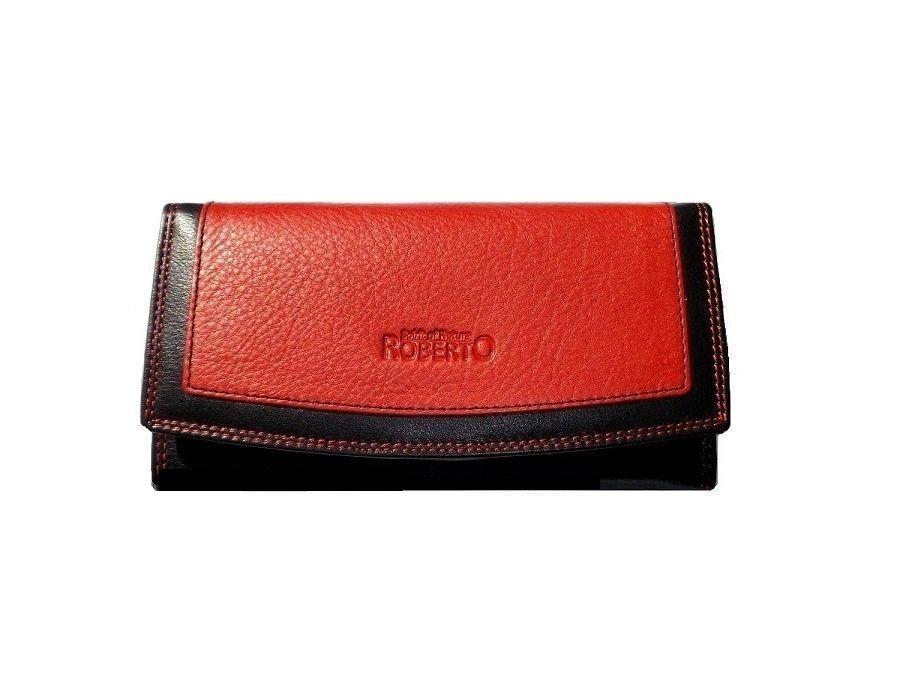 Kožená peněženka červeno černá