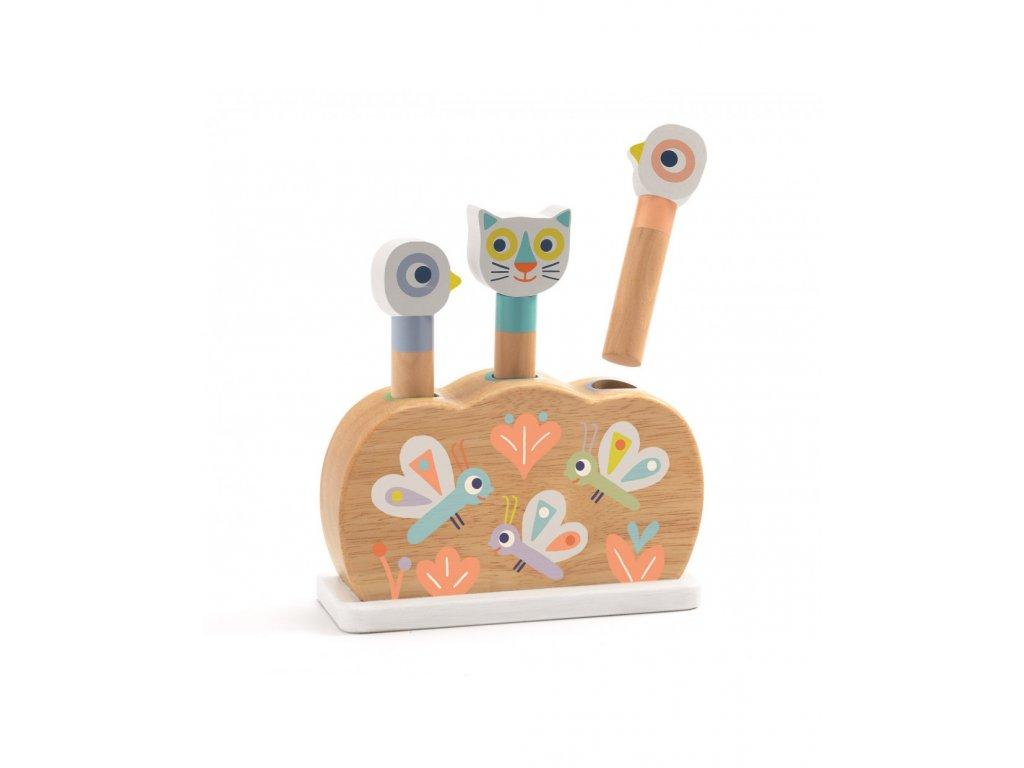 Dřevěná hračka vyskakovací duhová zvířátka