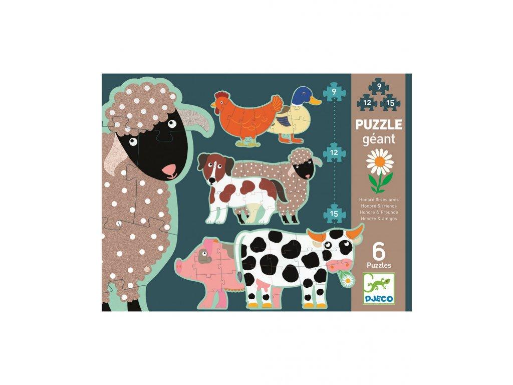 DJECO Puzzle gigant  - Ovečka Honoré a kamarádi