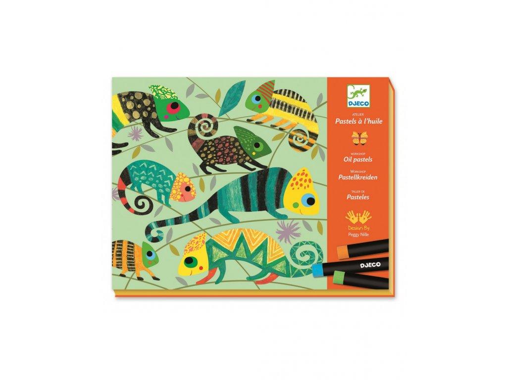 Výtvarná sada s olejovým pastelem Barevná džungle