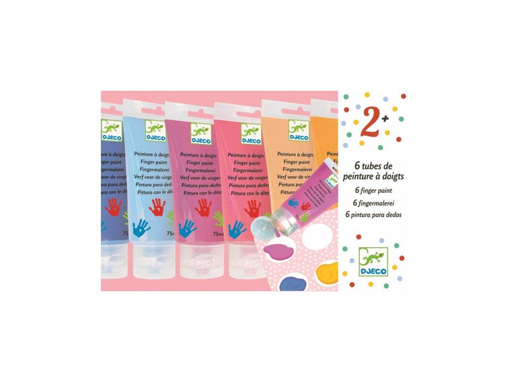 DJECO Prstové barvy v tubě pastelové