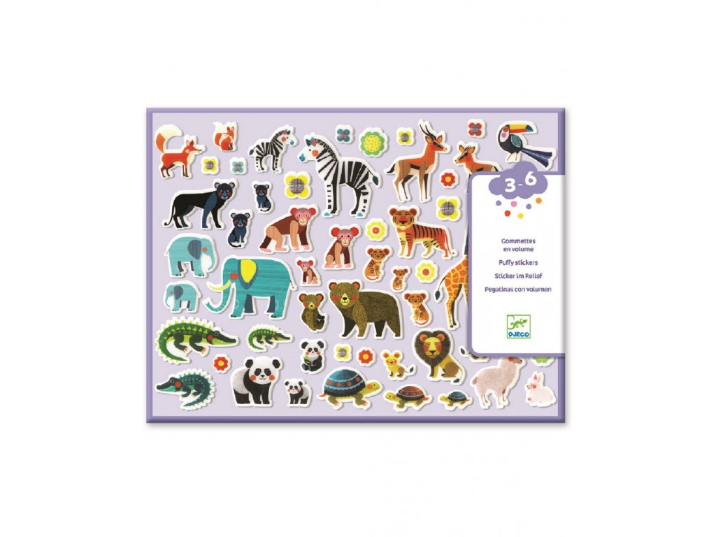 Set plastických samolepek zvířecí rodinky