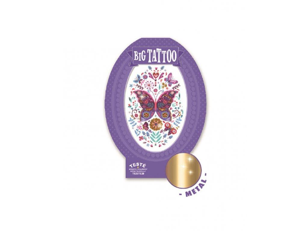 Velké tetování metalické Motýli