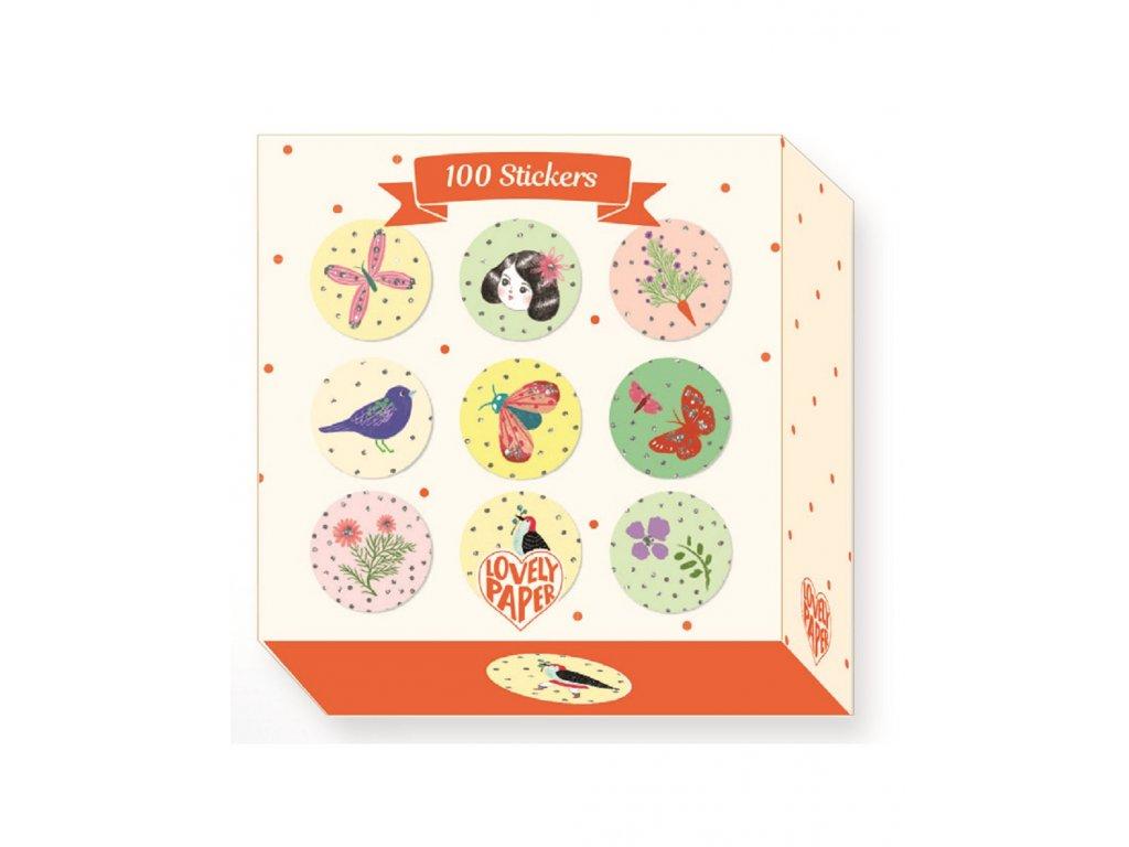100 malých samolepek v praktickém zásobníku Chichi