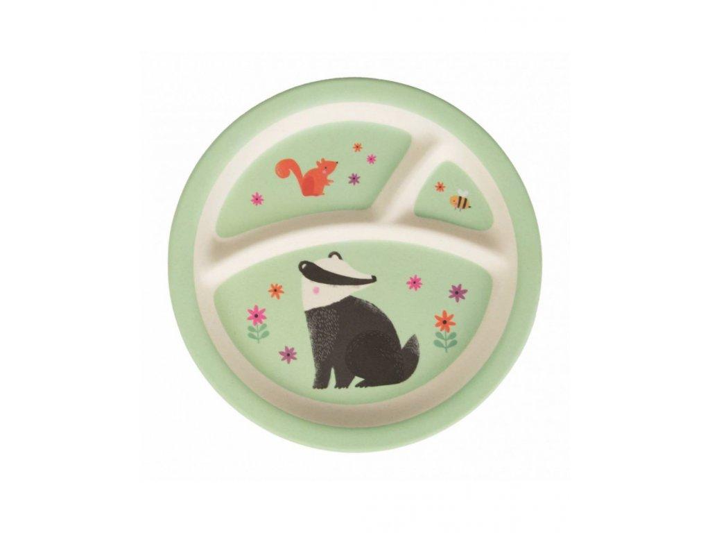 Bambusový dělený talířek  Lesní přátelé