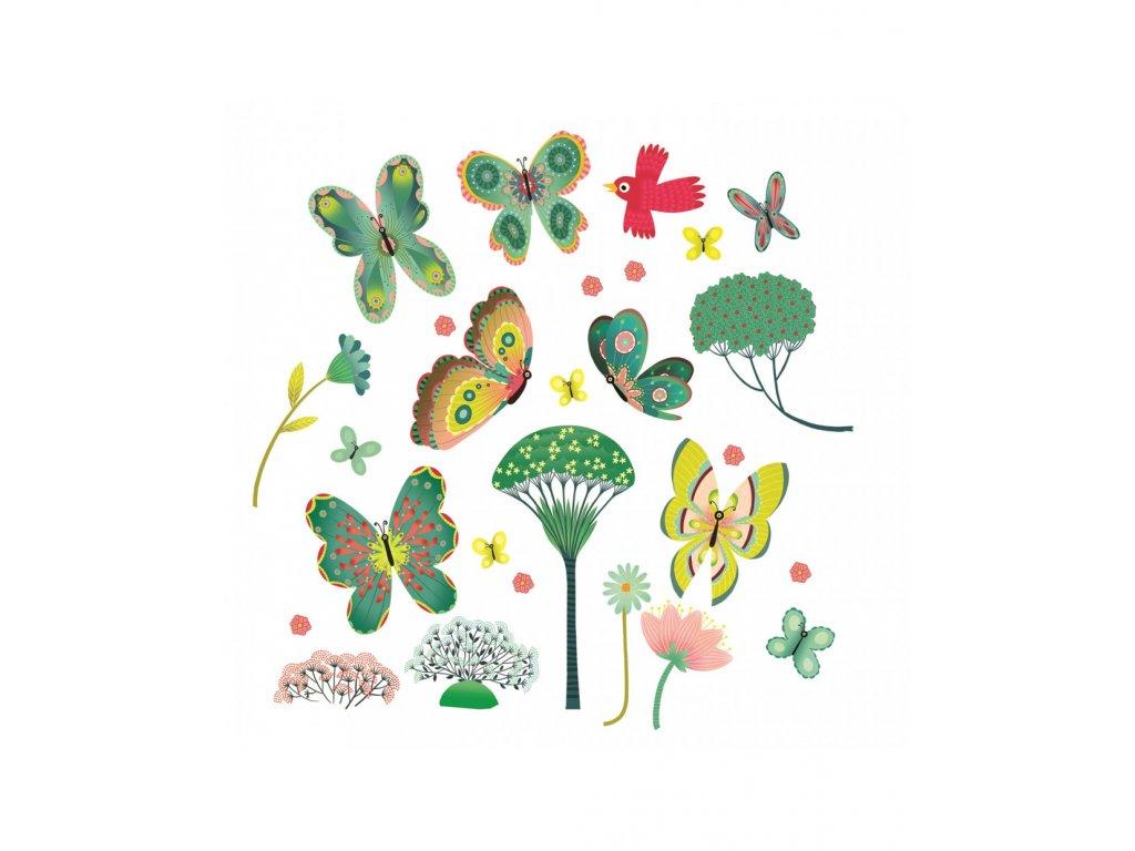 Samolepky na okno - Motýlí zahrada