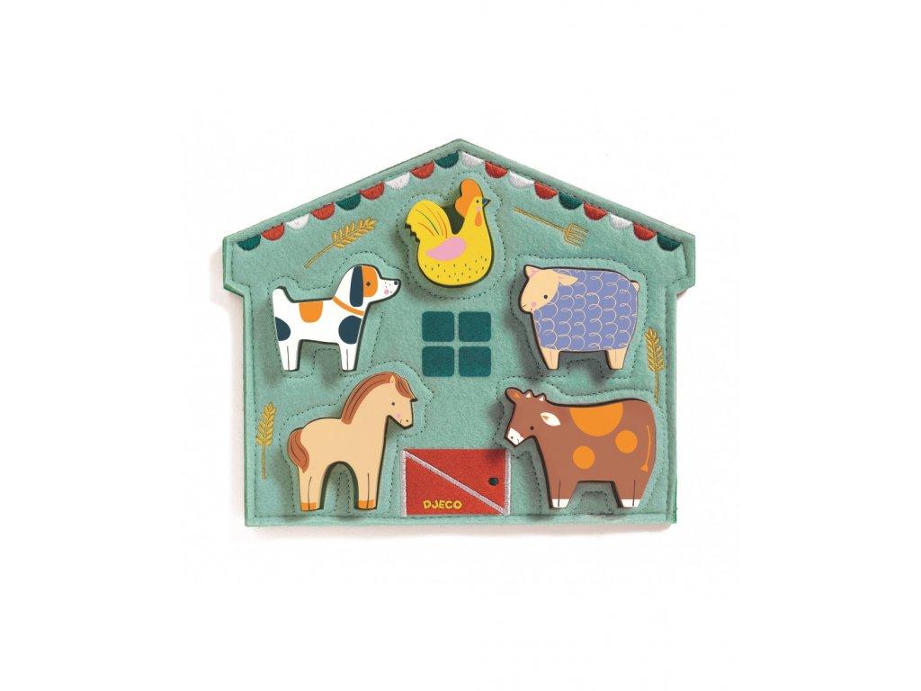 Dřevěné vkládací puzzle Kravička a kamarádi