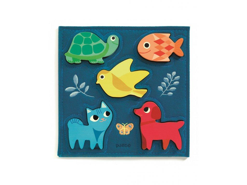 Dřevěné puzzle zvířátka v modrém