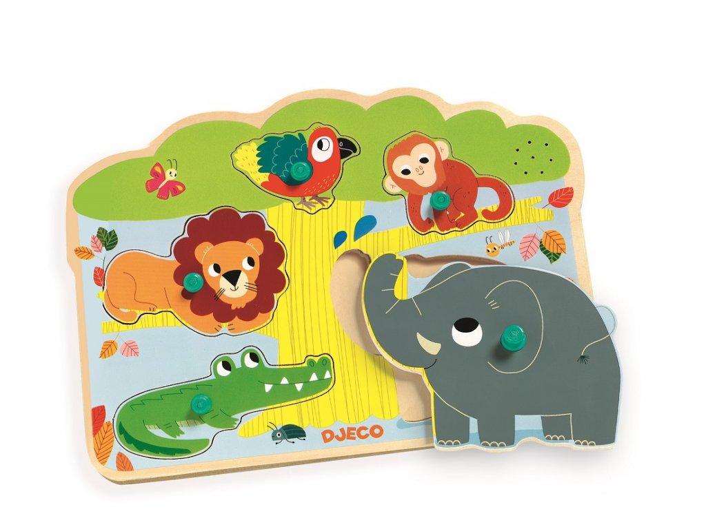 Vkládací puzzle Zvířátka z džungle se zvuky