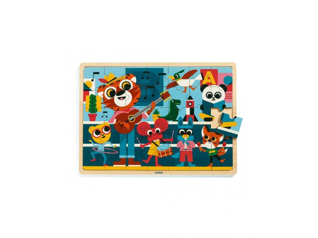 Dřevěné puzzle Veselá kapela